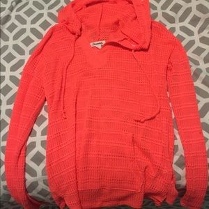 ORANGE HOODED PULLOVER SWEATER